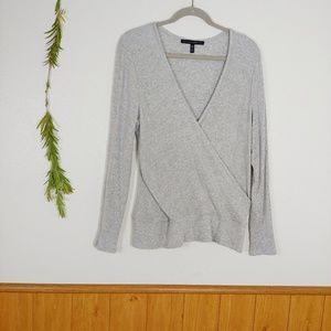 WHBM Grey Ribbed Super Soft Wrap Top